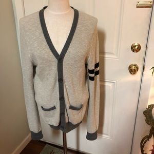 Express gray striped preppy cardigan sweater